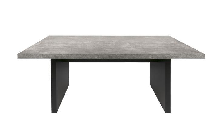 """Mesa """"DTR"""" Cubierta MDF pintada color cemento,  Soprtes MDF pintado negro"""