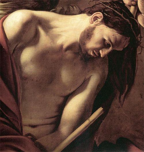 """Caravaggio (1571-1610), """"Incoronazione di spine"""", 1603 olio su tela 127x165 cm Vienna, Kunsthistorisches Museum. Particol. di Cristo"""