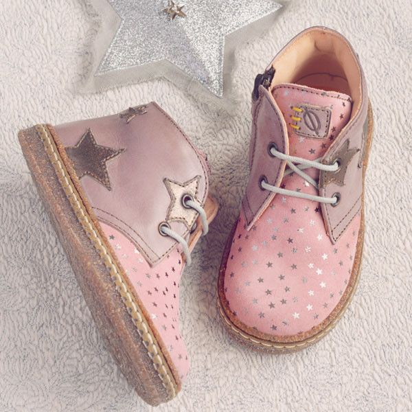 Ocra Girls Antique Pink Suede and Leather Ankle Boot with Stars