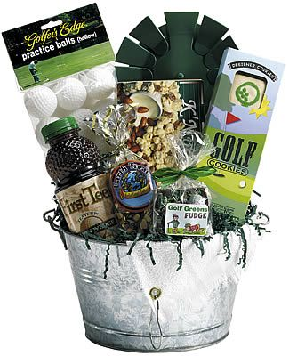 Golf gift basket, Add some putter covers, visor or cap from local range, gift certificate from local private club or local Top Golf or Putt Putt. http://www.charityfundraisingexperts.com/