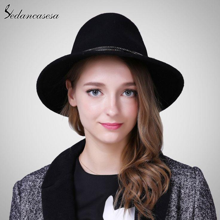 Lady Fedora Hat Australia Wool Felt hats for women Autumn Winter Keep Warm Wide Brim Fedora cap FM087004
