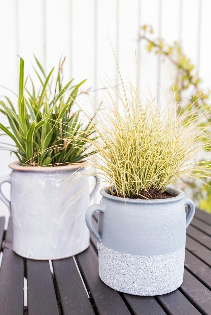 Anleitung für DIY upcycling Blumentöpfe mit Granitspray