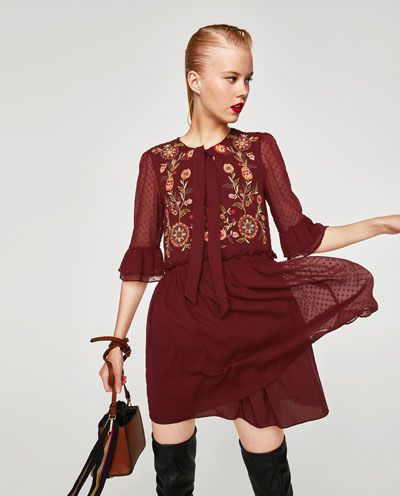 Image 2 of EMBROIDERED DRESS WITH BOW AT THE NECK from Zara