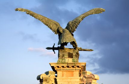 A statue of a Turul bird, a mythical falcon or eagle of the ancient Magyars.