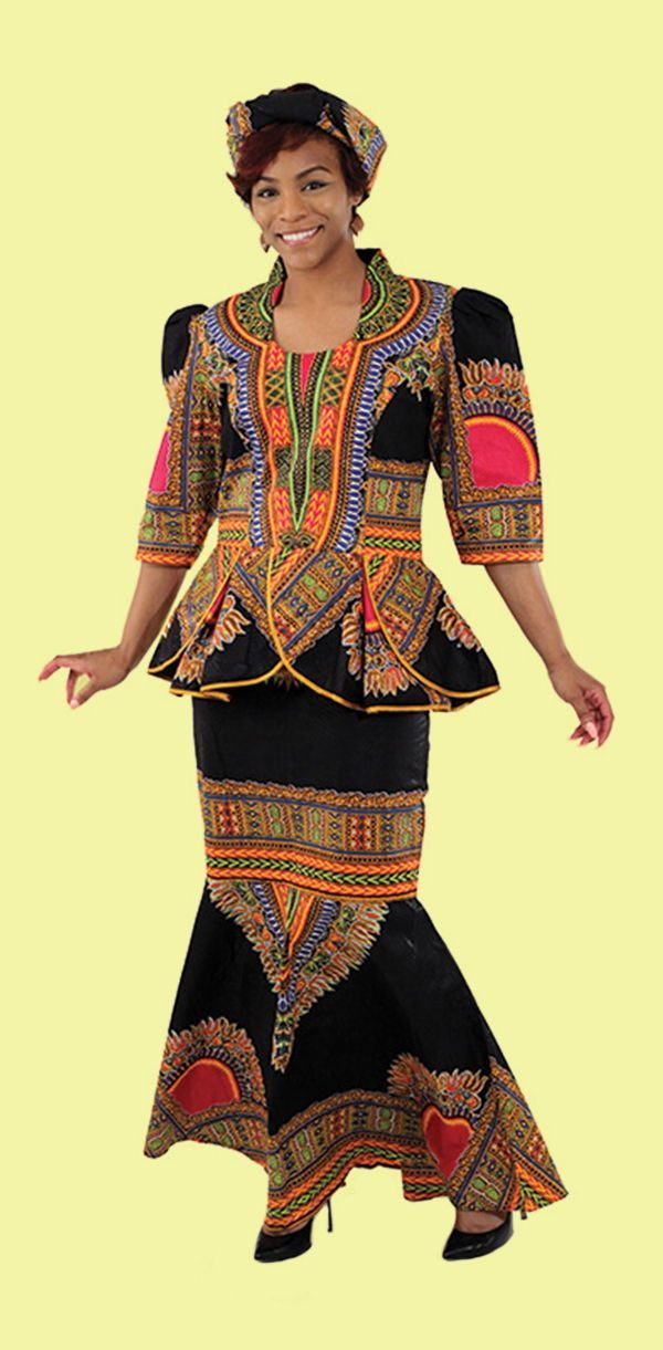Women's Traditional African Print Dress and coat top - Make a bold statement with this traditional print top (with zipper on back), head wrap, and mermaid skirt (with elastic waist and zipper).  Beautiful and bold traditional African print dress in bright African colors and patterns.  Celebrate your love of African culture and history with this beautiful African suit.  Perfect for wearing to church or dinner.  #african #africa #africanfashion #fashion #womensstyle #womensfashion #dress…