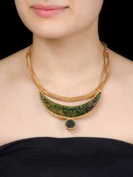 Gold-Printed Colored Glass Floral Silver Necklace