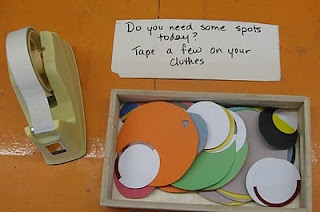 """Put Me In the Zoo-Suess & combine it with a Spots Center-""""Do you need some spots today? Tape a few spots to your clothes!""""-could go in lots of different directions...."""