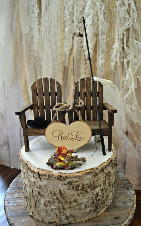 Fishing camping themed wedding cake topper fishing pole camp fire Adirondack…