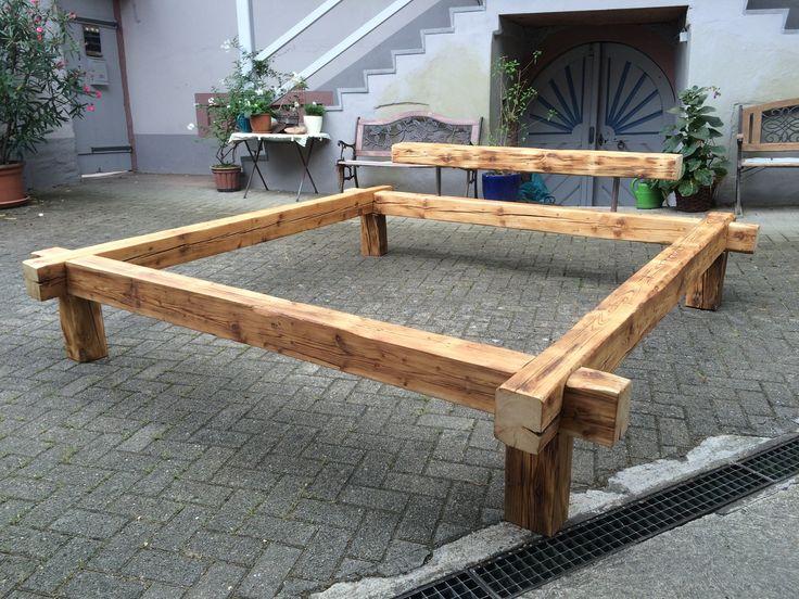 das gesteckte balkenbett bett balkenbett holz altholz stilvolleinrichten handwerk - Kopfteil Plant Holzbearbeitung