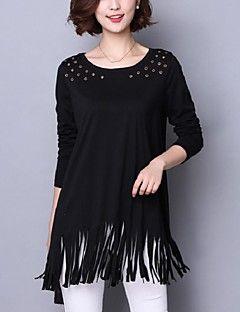 Kadın Orta Pamuklu Uzun Kollu Yuvarlak Yaka Sonbahar Solid Sokak Şıklığı Günlük/Sade / Büyük Beden Siyah-Kadın Tişört
