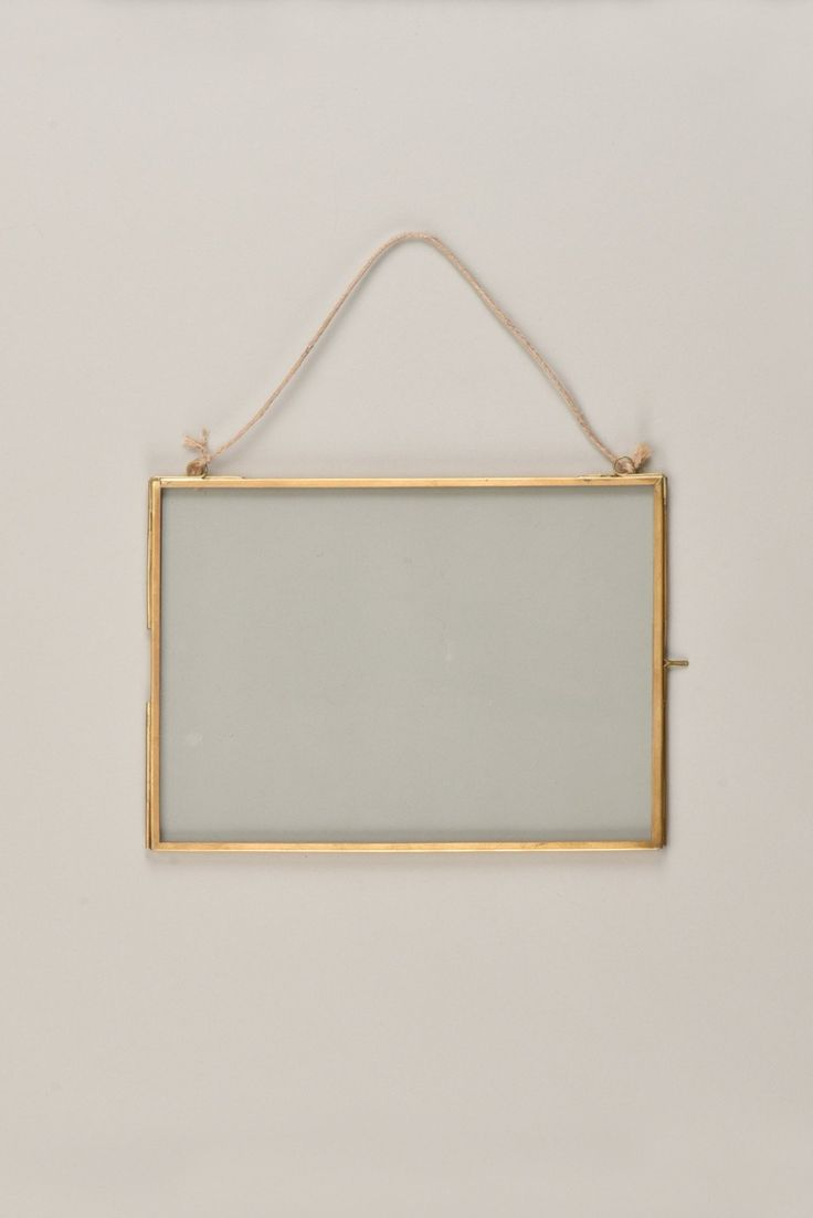 Hanging Glass & Metal Photo Frame With Brass Finish