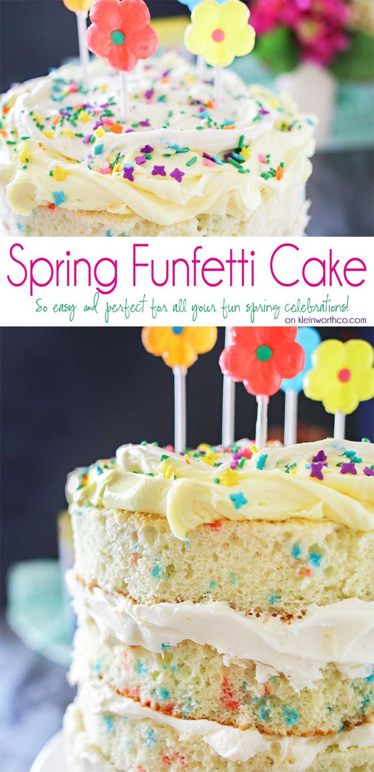 "Spring celebrations are fun & easy with this Spring Funfetti® Cake. You can create fun family moments with this cake recipe as one of your Easter desserts. Using frosting just in-between layers for that ""naked cake"" look that is SO popular right now. It's gives the perfect amount of cake to frosting ratio & it's absolutely delicious! I'm loving it for all our holiday & spring birthday celebrations. #MixUpAMoment #ad"