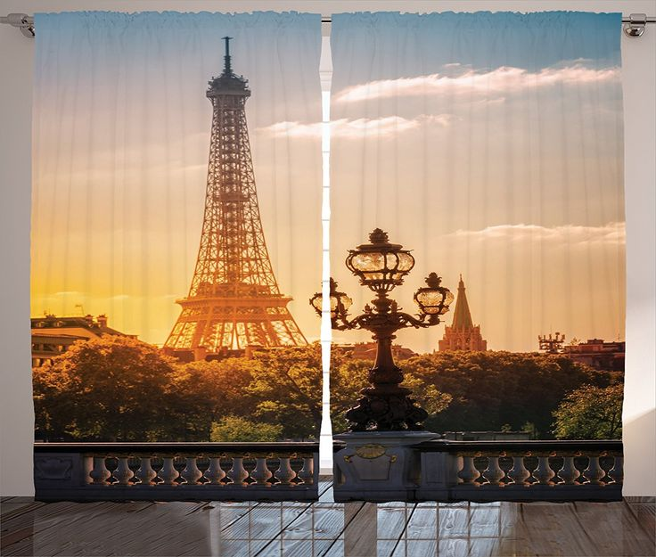 Eiffel Tower Shower Curtain Paris France Decor By Ambesonne, Europe Famous  Church And Cityscape Aerial View Picture Print, Polyester Fabric Bathroom  Set ...