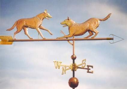 Belgian Malinois Dogs, Playing Weathervane by West Coast Weather Vanes.  This copper  Belgian Malinois Dogs weathervane features two beloved Malinois playing.   Each dog in the sculpture piece was designed to represent the personality of the individual dog.