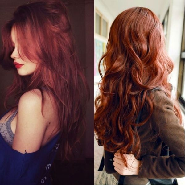 Wonderful rust red hair color with natural wavy hairstyle, so elegant and sex look *the first one*