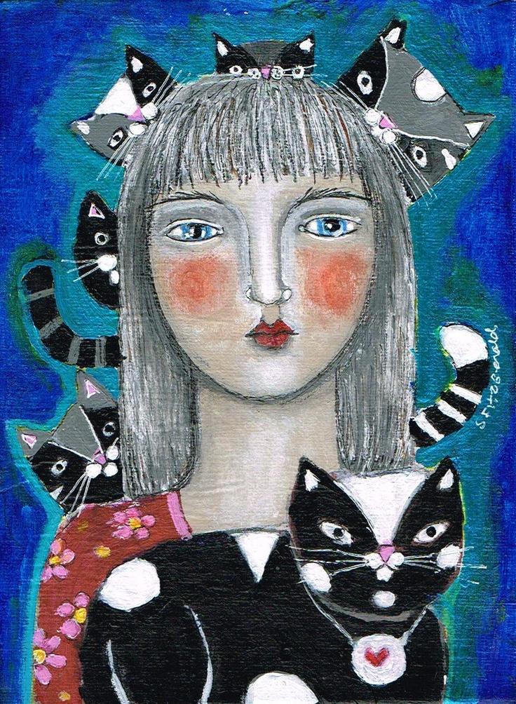 Mixed Media Painting Print  Modern Folk Art  Expressive Cat. $6.00, via Etsy.