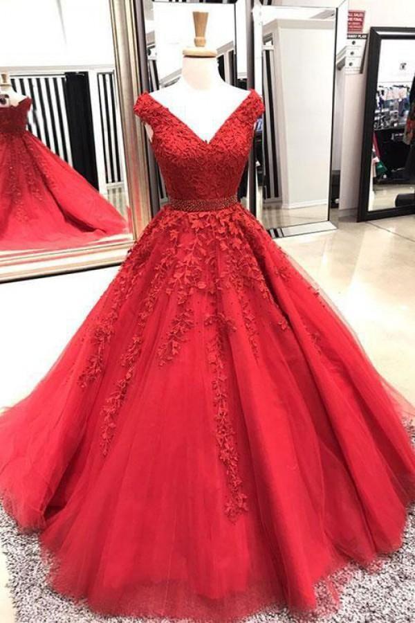 Gorgeous Ball Gown V-neck Long Tulle Lace Applique Prom Dress Quincean –  Dressytailor 524c750ccfee