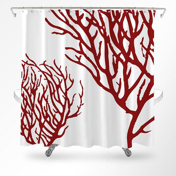 coral shower curtain coastal shower curtain ocean shower curtain beach bathroom decor coastal bathroom coral bathroom decor by loftipop