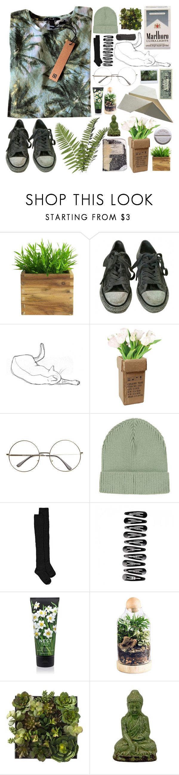"""""""Uncomfortable with sunshine"""" by ftrees ❤ liked on Polyvore featuring KEEP ME, AllSaints, Topshop, Boohoo, Nest Fragrances, Plane and Urban Trends Collection"""