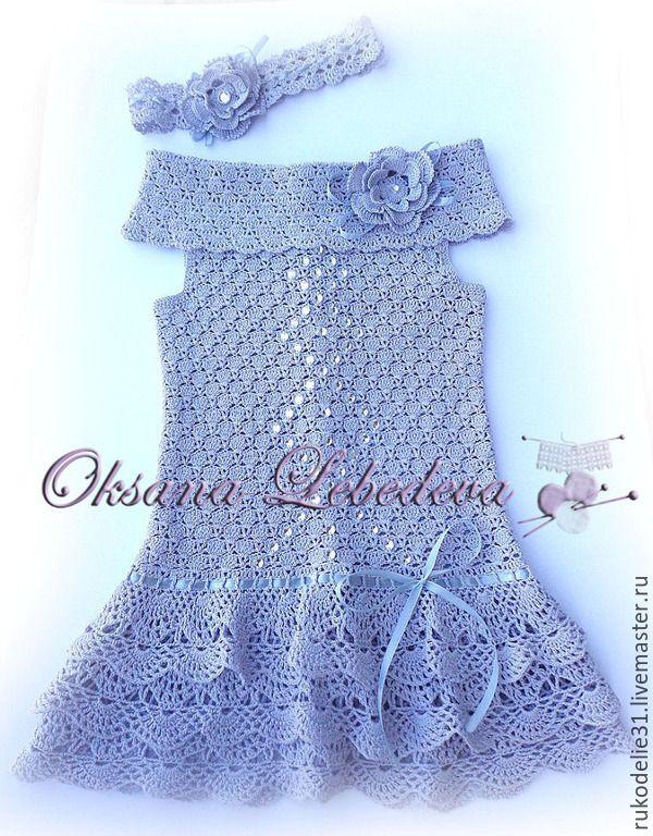 Купить Платье летнее крючком из хлопка в стиле Великий Гэтсби - серый, детский, детское платье