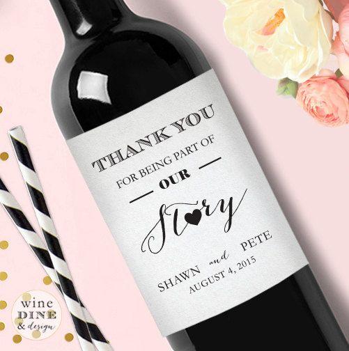 Personalisierte Danke Hochzeit Weinetikett von WineDineandDesign