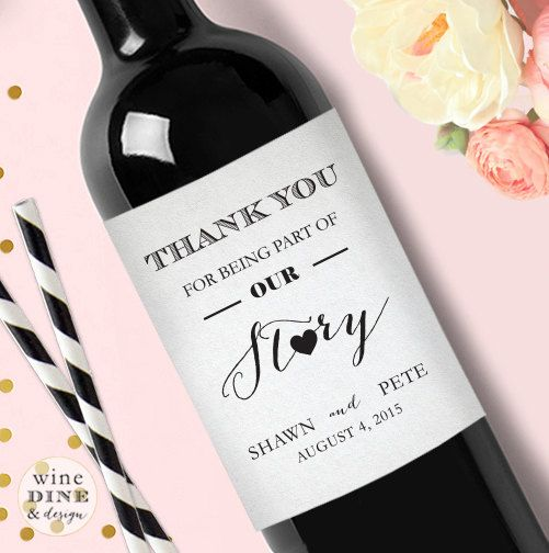 Personalized Thank You Wedding Wine Label by WineDineandDesign
