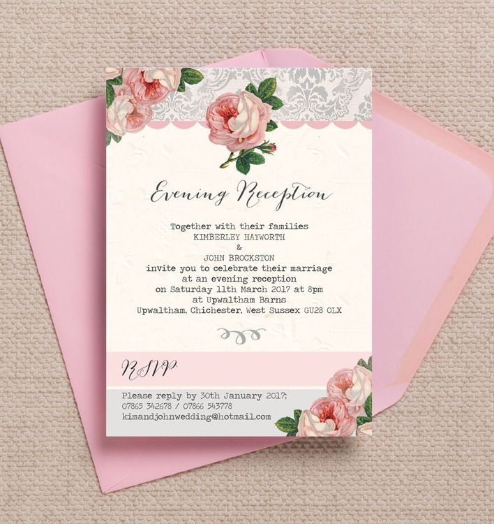 Sweet Vintage Evening Reception Invitation. Printable PDF or professionally printed. Personlise online.