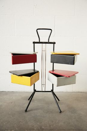 Sewing box by J.Teders for Pastoe    J.Teders / Pastoe / Netherlands    Dutch. 1950. Lacquered Metal Rotating Boxes.