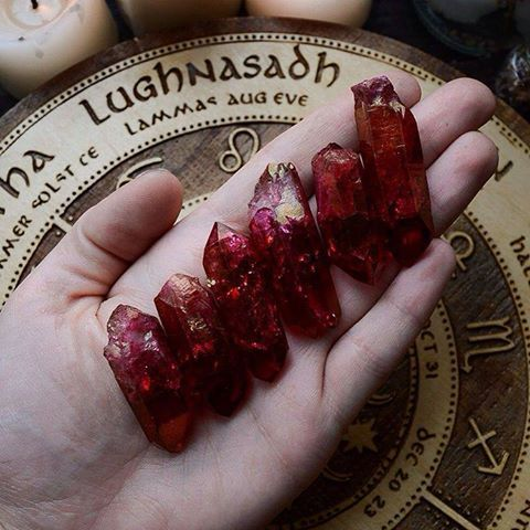 Mistylines - Look at these gorgeous ruby aura crystals that I...
