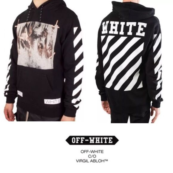 OFF-WHITE c/o Virgil Abloh -- Caravaggio Hoodie -- 100% authentic purchased from Barney's NY. NWT attached (tag pictures with bag is from my white OFF WHITE hoodie). Prefect condition. Size Medium in men's. Comes with all original tags + OFF WHITE bag. Supreme Tops Sweatshirts & Hoodies