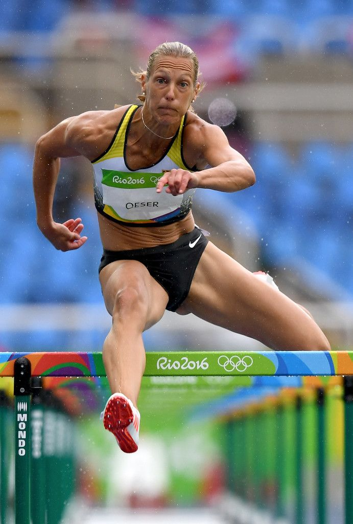 Jennifer Oeser of Germany competes in Women's Heptathlon 100 Meter Hurdles on Day 7 of the Rio 2016 Olympic Games at the Olympic Stadium on August 12, 2016 in Rio de Janeiro, Brazil.