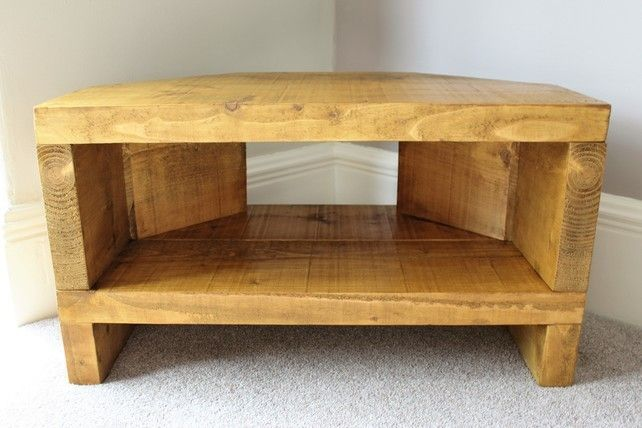 Handcrafted rustic reclaimed solid pine corner TV stand cabinet in oak stain…
