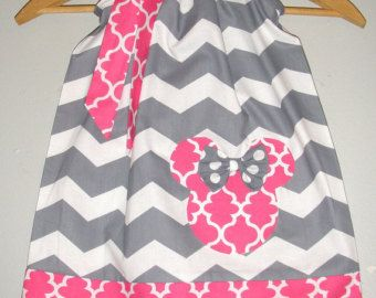 Minnie Mouse dress Grey white chevron Teal accents by minnieschild