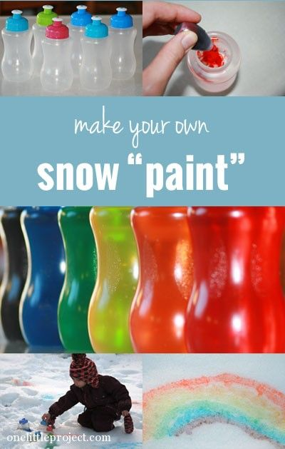 How to make your own snow paint. This will be so much fun when it finally starts to snow! Also in spray bottles!!