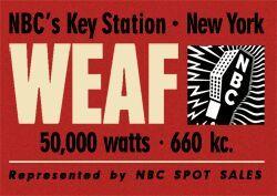 La prima vera pubblicità in radio fu trasmessa nell'agosto '22 dalla radio newyorchese WEAF per annunci immobiliari della Queensboro Corporation. Sembra però che a Seattle, già da marzo dello stesso anno, il Remick's Music Store avesse sponsorizzato un programma musicale sulla stazione KFC per promuovere le canzoni delle quali vendevano gli spartiti. In Italia comparve ad aprile del 1926, anno in cui venne fondata la SIPRA (Società Italiana Pubblicità Radiofonica Anonima).