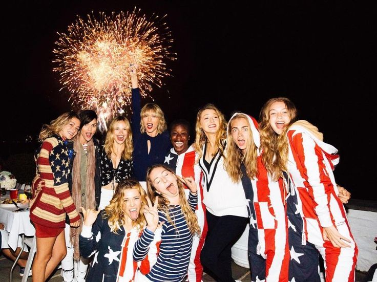 Gigi Hadid and Cara Delevingne wear American Flag Jumpsuits at Taylor Swift's A-list Fourth of                          July bash