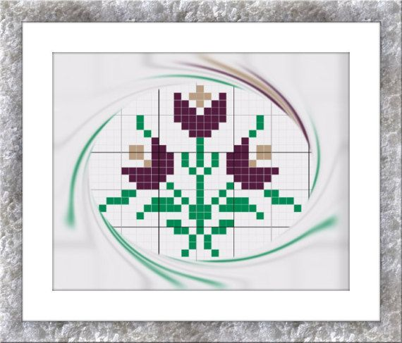 Mini cross stitch chart flowers Cross by CamisTheCrossStitch