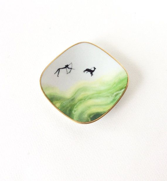Unique Limoges coin dish. Hand painted cave by SouthofFranceFinds