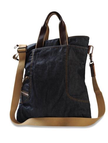 handles sewn inside an outside pocket