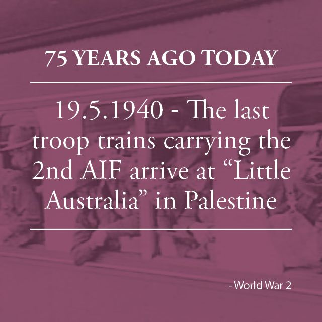 "The last troop trains carrying the second contingent of the AIF arrive at ""Little Australia"" – the name given to the Australian area in Palestine. The camp is ready for occupation, with tents having been built, kitchens in perfect running order and cold shower-baths available the moment the hot, dusty troops reached the camp."