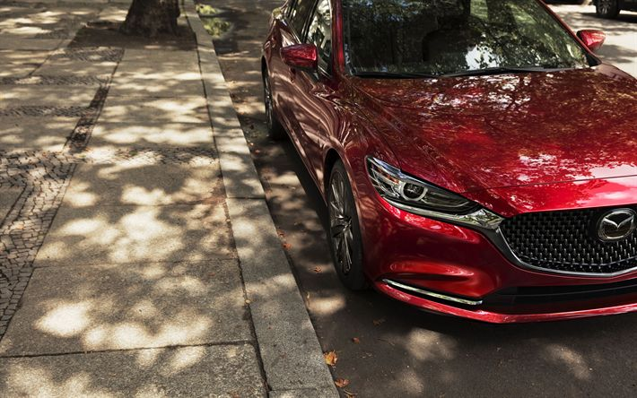 Download wallpapers Mazda 6, 2018, 4k, front view, red sedan, Japanese cars, Mazda
