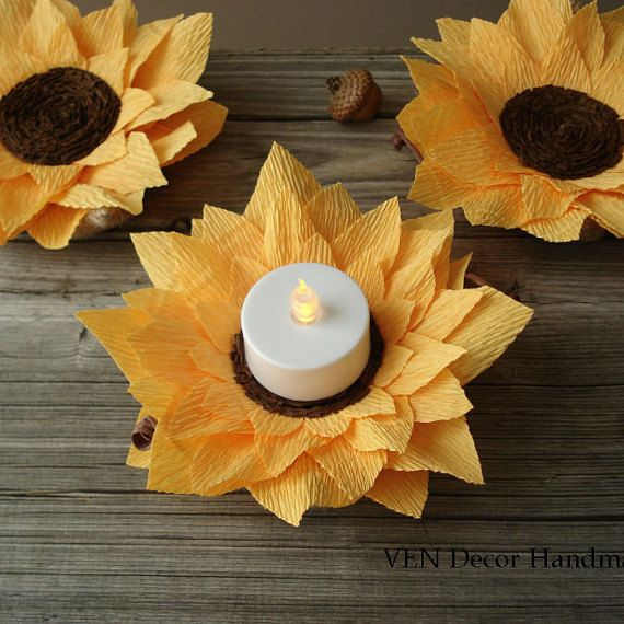 Rustic Sunflowers Decoration- Set of 6, Autumn Wedding Centerpiece, Paper Sunflower Centerpiece, Sunflower Wedding Decorations, Fall Wedding