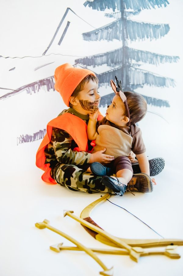 Unique halloween costume ideas for kids | best home made brother sister Halloween costume inspiration | creative cute handmade Hunter + Deer costume | Baby Kid Family Photographer | on COUTUREcolorado baby style blog