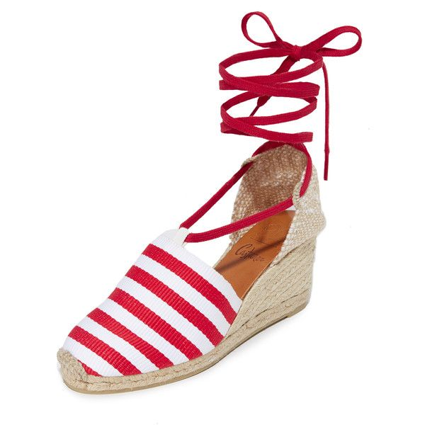 Castaner Marine Heritage Wedge Espadrilles ($215) ❤ liked on Polyvore featuring shoes, sandals, rojo, striped espadrilles, braided wedge sandals, wedge sandals, lace up espadrilles and woven sandals