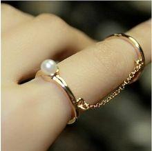 2015 nueva moda joyería Gold Thin Simple cadena de eslabones de dedo doble anillos simulado perla tachonado para joyería moda mujer(China (Mainland))