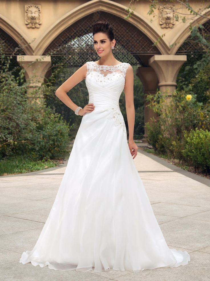 Fabulous Dazzling Beaded Lace Bateau Neck Ruched A Line Wedding Dress