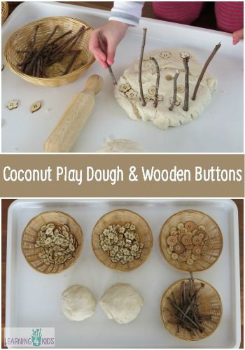 Coconut Play Dough & Wooden Buttons