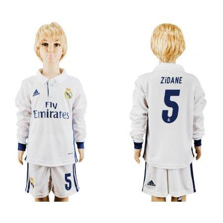Real Madrid Trøje Børn 16-17 Zinedine #Zidane 5 Hjemmebanetrøje Lange ærmer.222,01KR.shirtshopservice@gmail.com