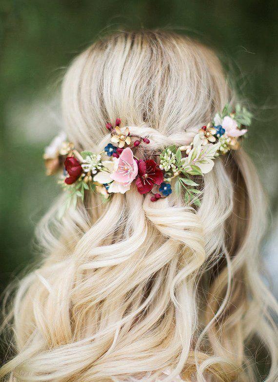 Burgundy hair accessories, bridal headpiece floral, burgundy hair comb, burgundy wedding headpiece, navy hair piece, navy wedding hair