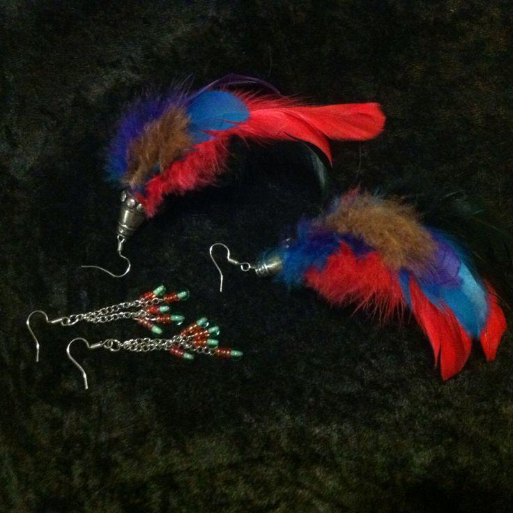 Tassel & feather earrings